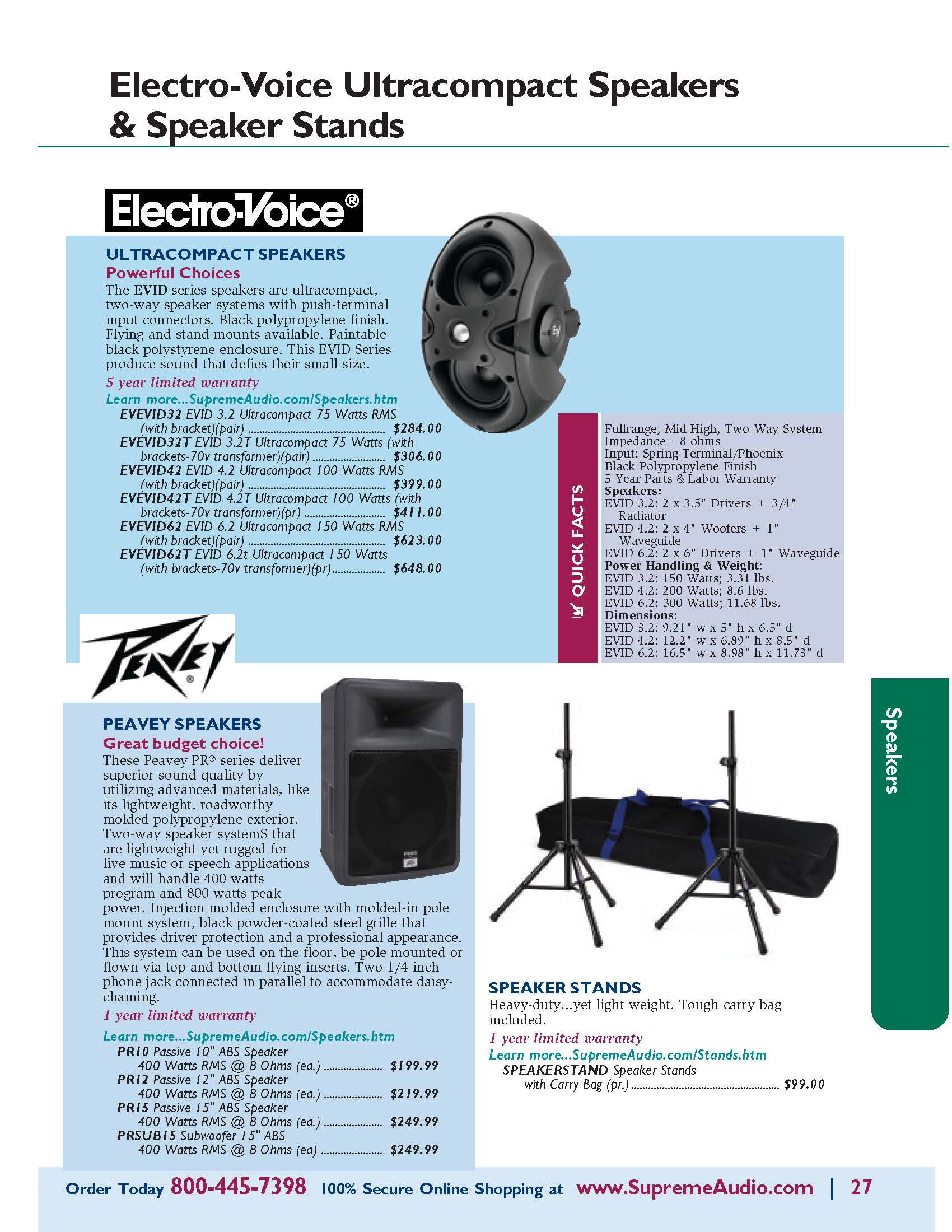 Electro-Voice EVID & Peavey Speakers & Speaker Stands