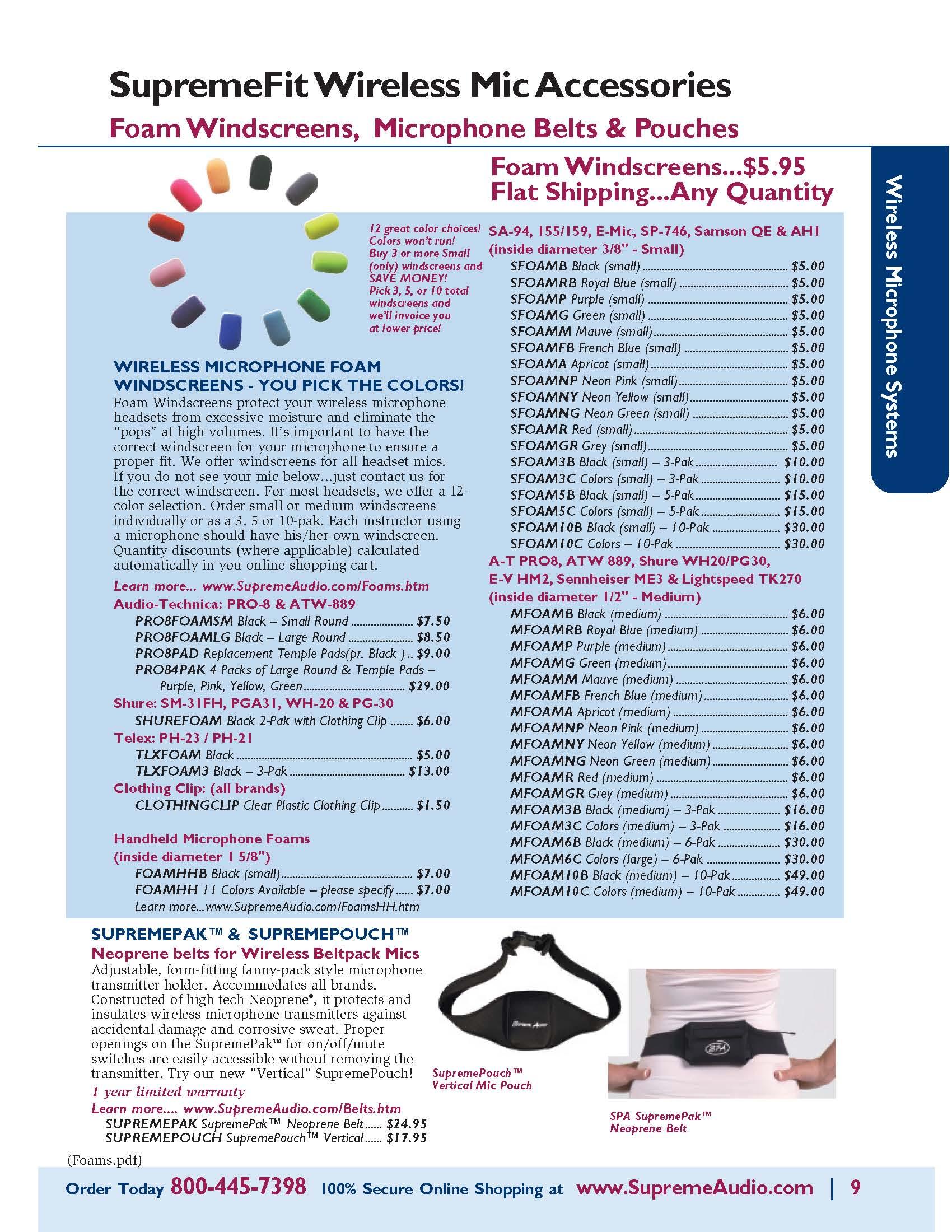 Microphone Foam Windscreen Catalog Page