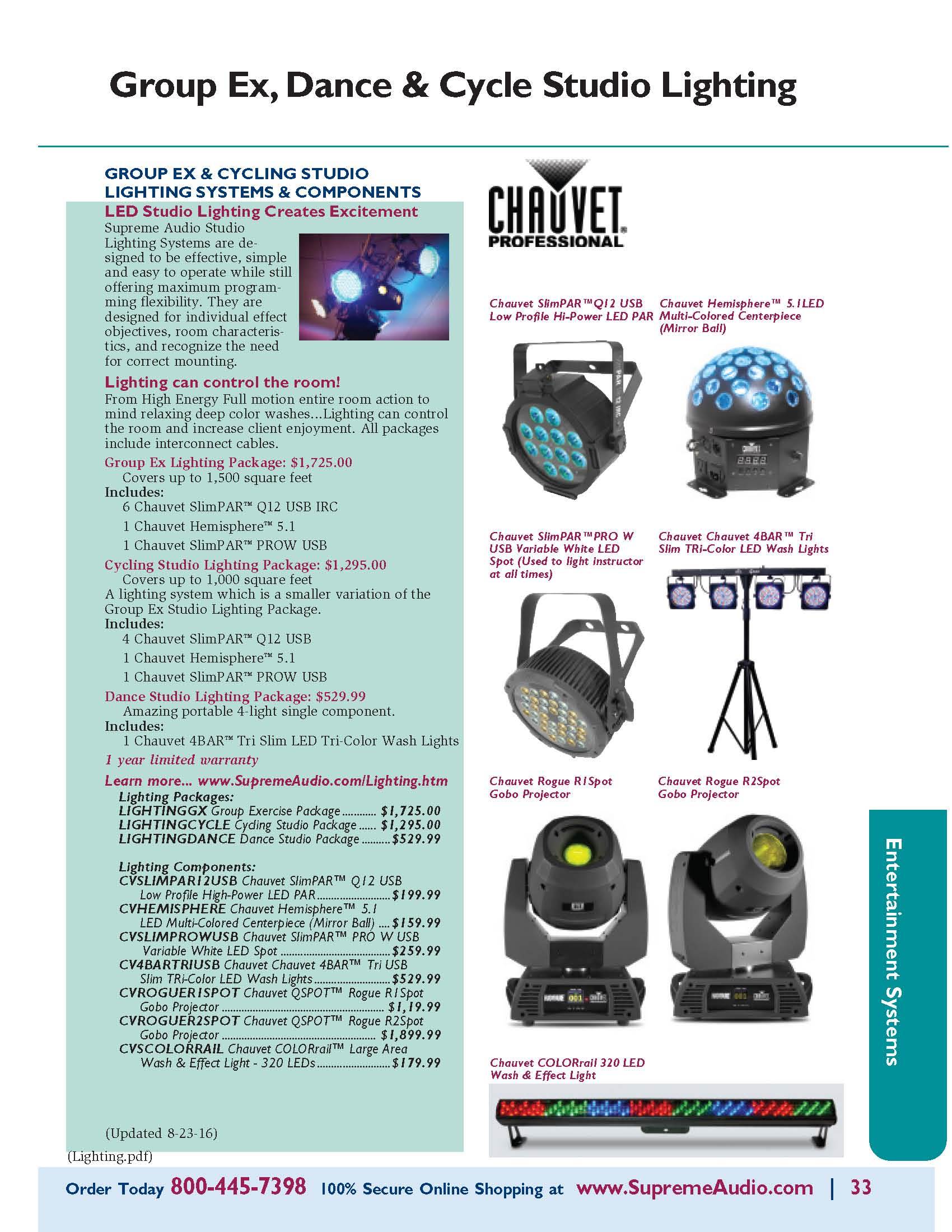 Group X, Dance & Cycle Studio Lighting Catalog Page