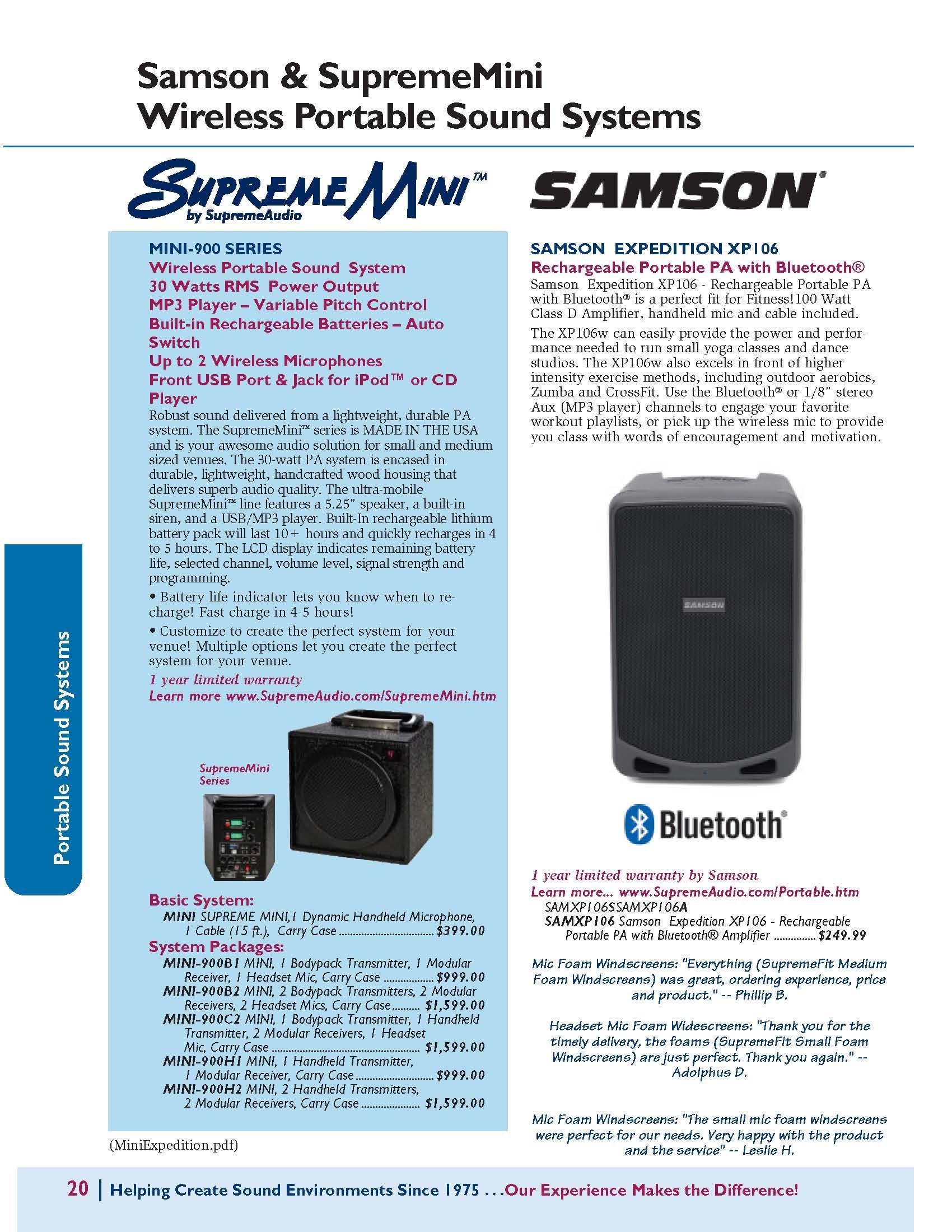 Samson Expedition Bluetooth & SupremeMini Portable Sound Systems