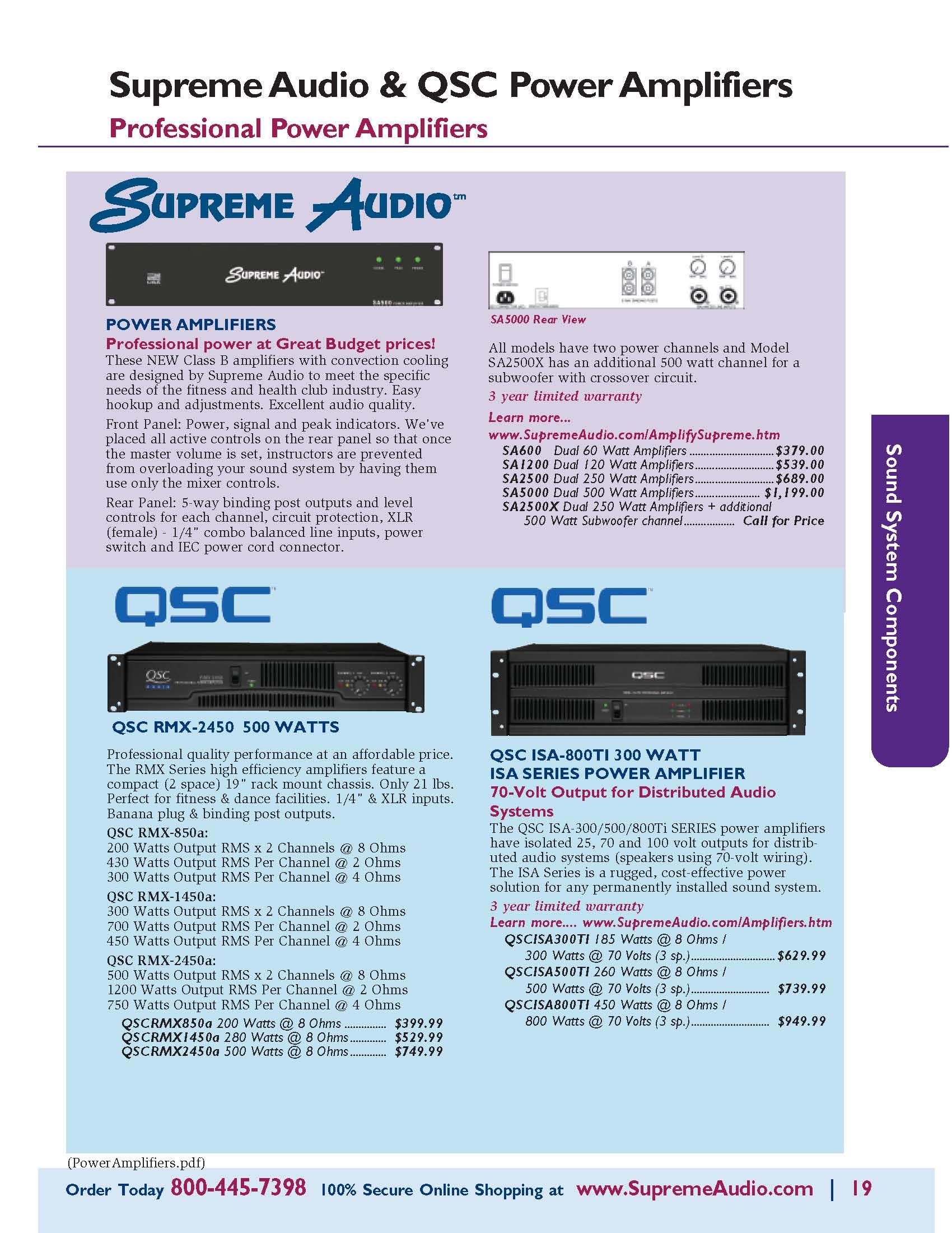 QSC & Supreme Audio Power Amplifiers