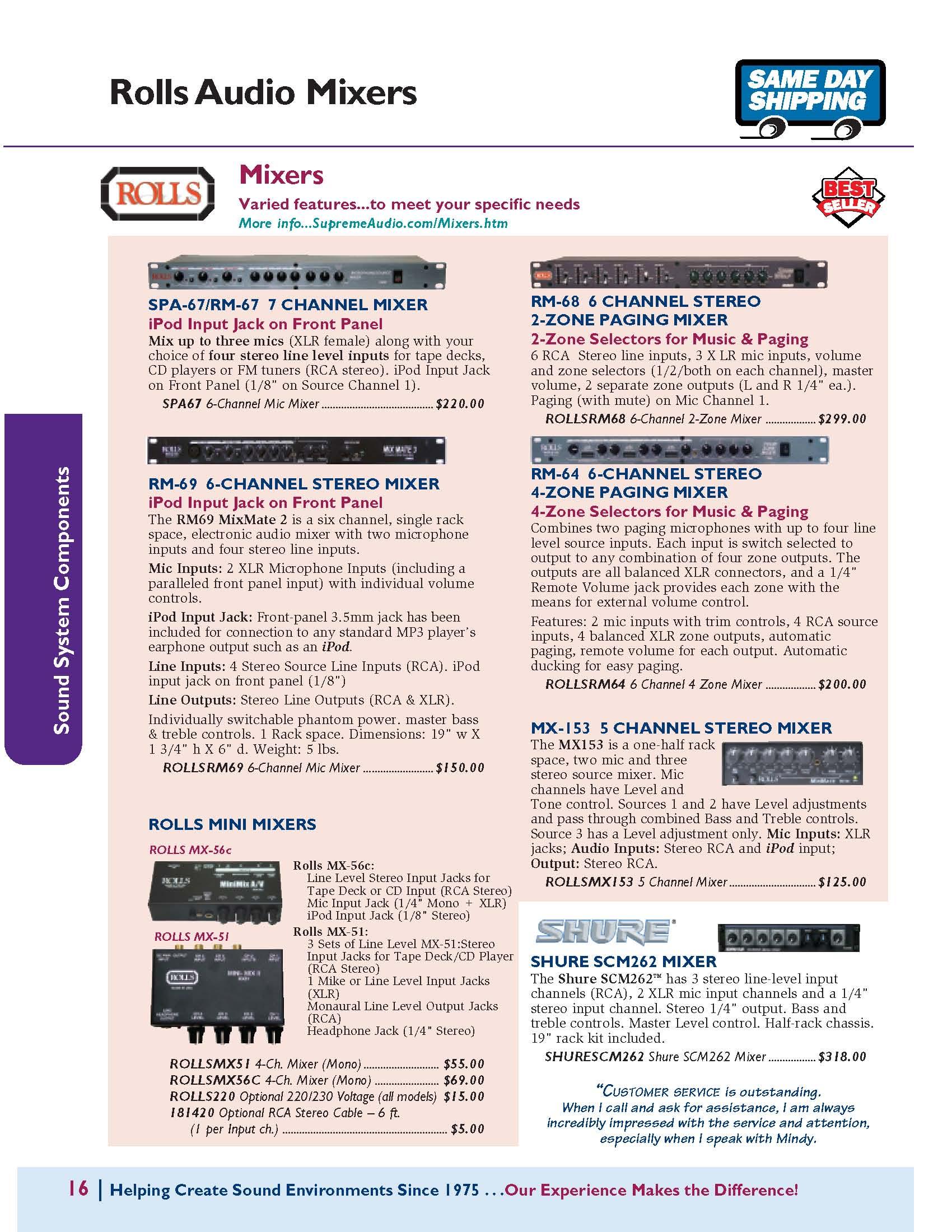 Rolls & Shure Mixers