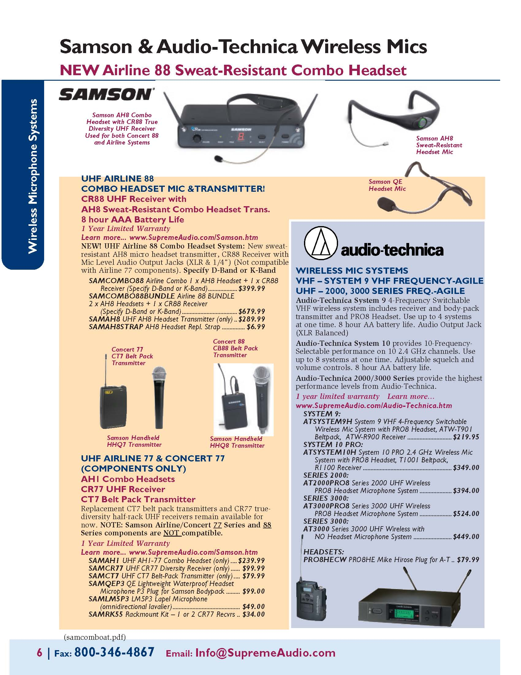 Samson Airline 88 & Audio-Technica Wireless Mic Systems